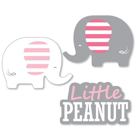 Elephant Party (Pink Elephant - Shaped Girl Baby Shower or Birthday Party Cut-Outs - 24)