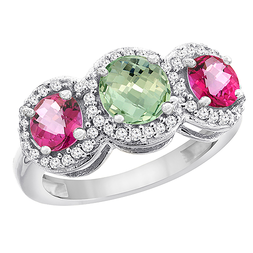 14K White Gold Natural Green Amethyst & Pink Topaz Sides Round 3-stone Ring Diamond Accents, size 5 by Gabriella Gold