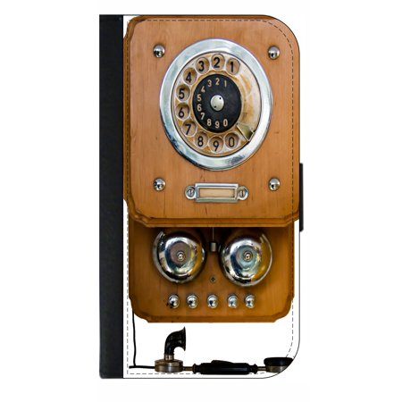 Vintage Style Telephone - Wallet Style Cell Phone Case with 2 Card Slots and a Flip Cover Compatible with the Apple iPhone 4 and 4s Universal