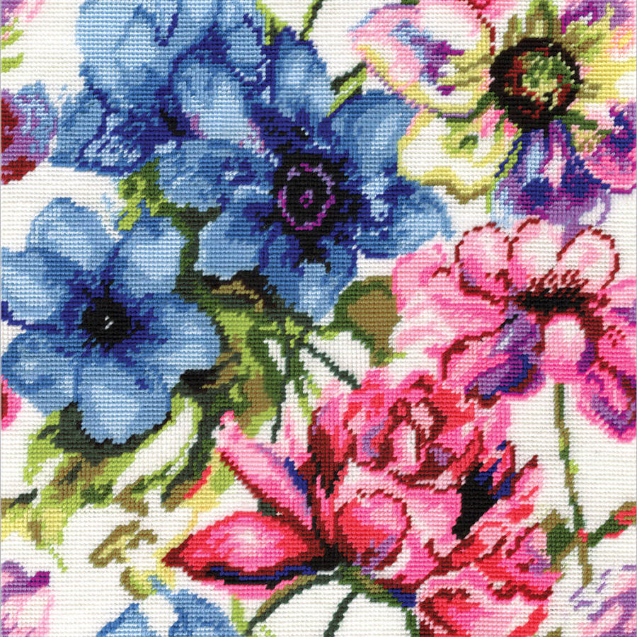 "Watercolor Floral Needlepoint Kit, 12"" x 12"" Stitched In Acrylic Yarn"