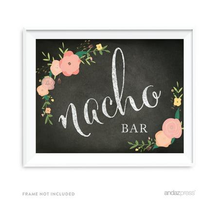 Nacho Bar Chalkboard & Floral Roses Wedding Party Signs - Nacho Bar Toppings