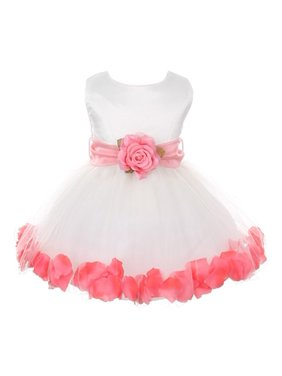 ab0ecb13439 Product Image Baby Girls White Coral Floral Petals Organza Sash Flower Girl  Dress 6-24M