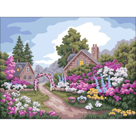 Collection D'Art Needlepoint Printed Tapestry Canvas, 40cm x 50cm, Flower Gate