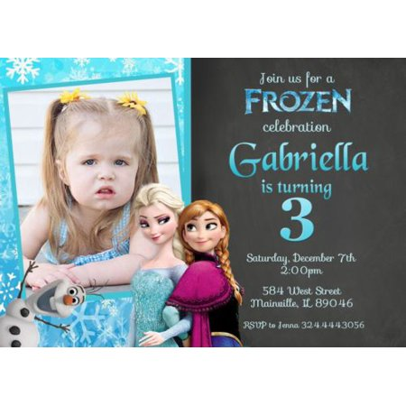 Frozen Princess Elsa Anna Birthday Party Invitation