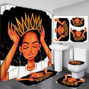 Crown Art Print African American Queen Shower Curtain OR Pedestal Rug + Lid Toilet Cover + Bath Mat Doormat Set for Home Kitchen Decor for Black Women Girl Gift