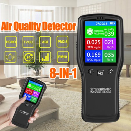 8 In1 Air Quality Detector PM2.5 PM10 TVOC HCHO Formaldehyde Air Quality Monitor Laser Tester ()