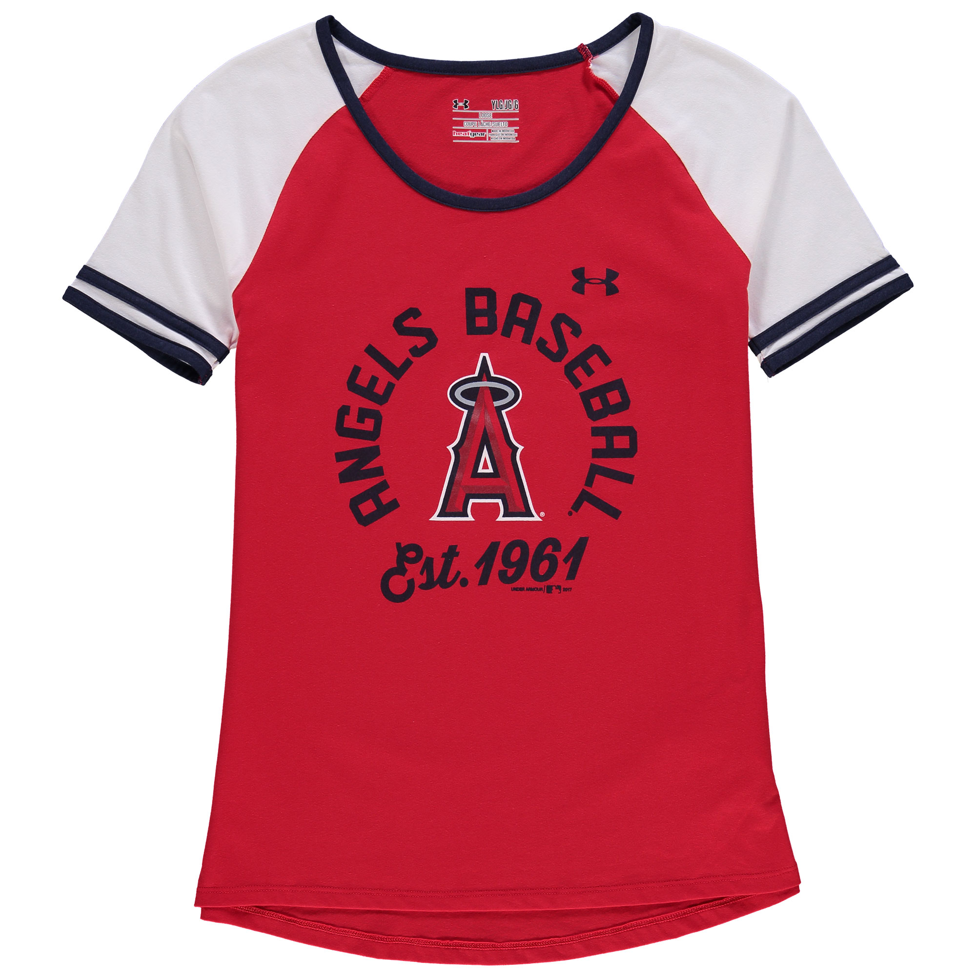 Girls Youth Under Armour Red/White Los Angeles Angels Baseball Half-Sleeve T-Shirt
