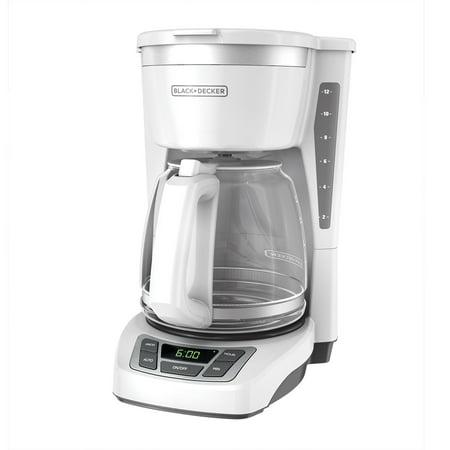 BLACK+DECKER 12-Cup* Programmable Coffeemaker, White, (White Programmable Coffee Maker)