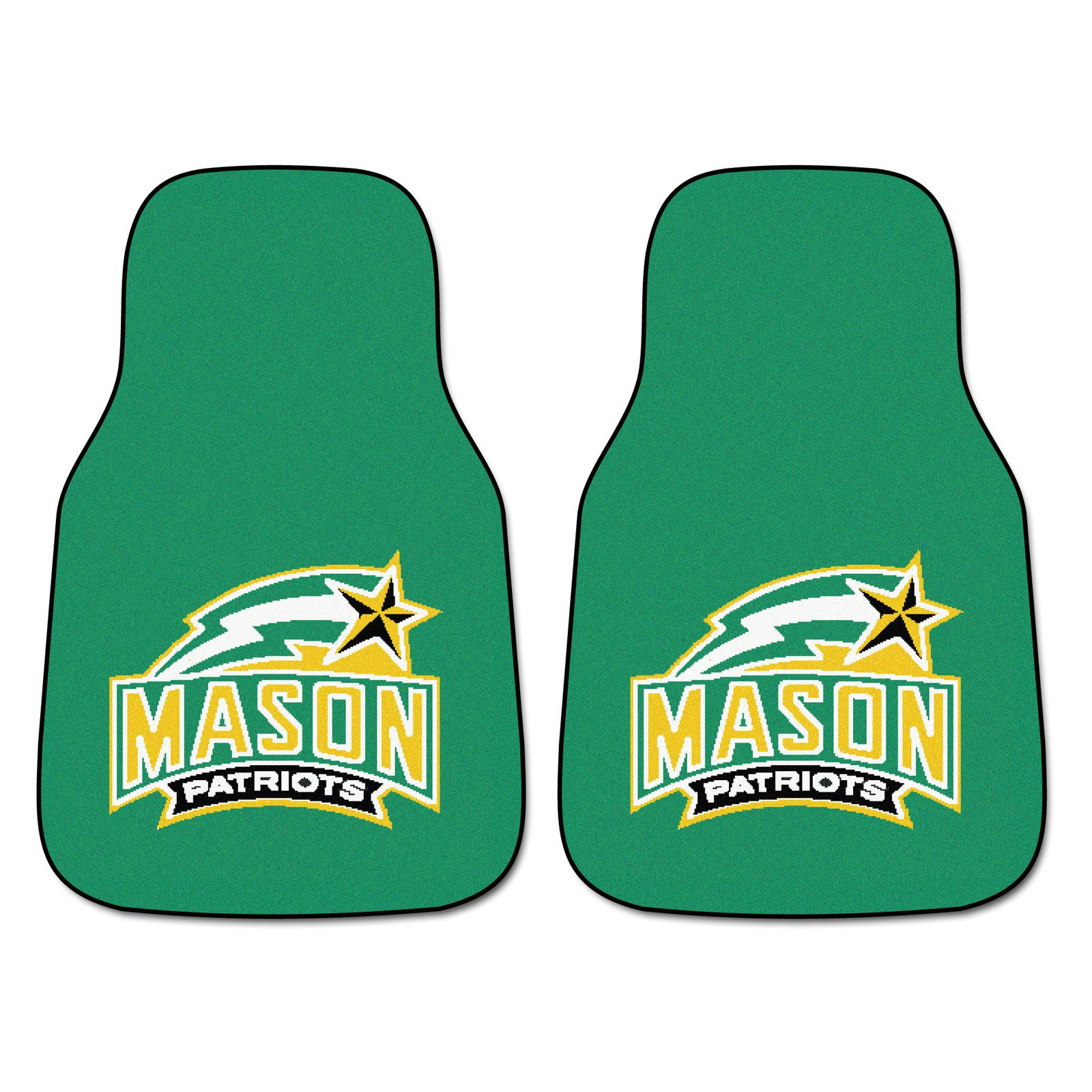 Pair of George Mason University Patriots Car Mats - Yellow and Green
