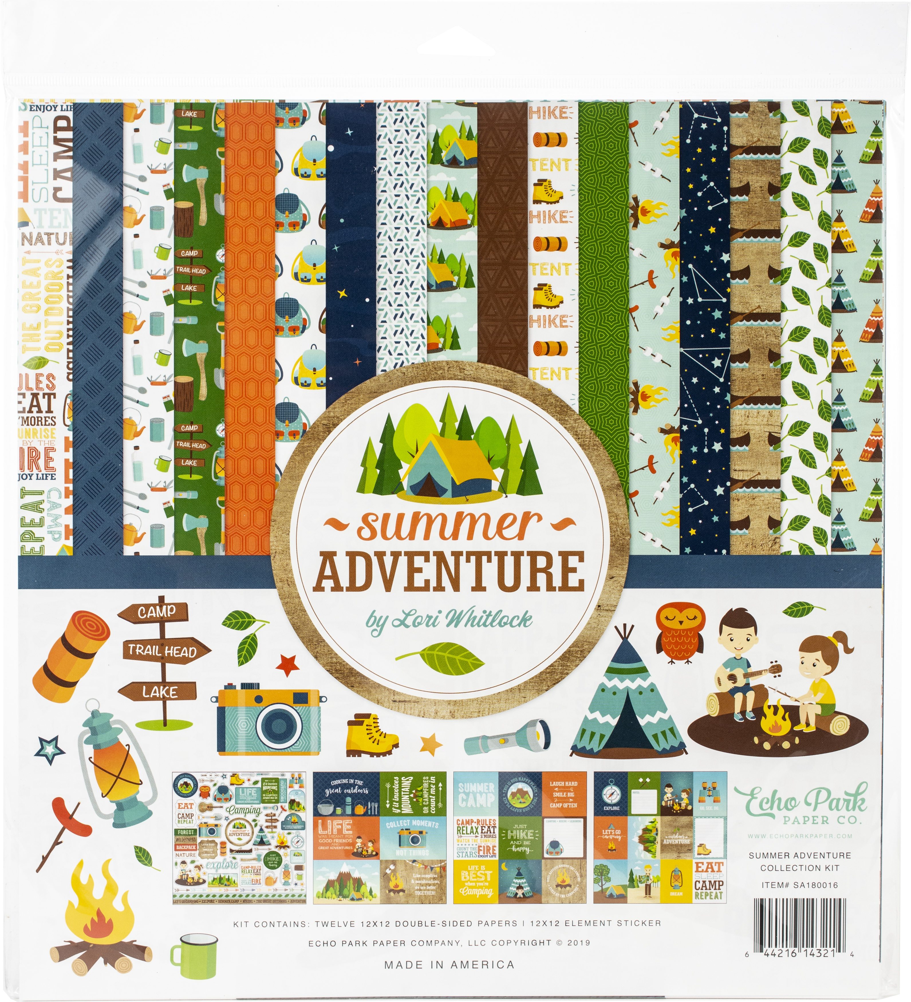 """ECHO PARK Gone Camping 12x12 Collection Kit*12/""""x12/"""" Scrapbook Paper Papercrafts"""