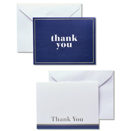American Greetings 50 Count Thank You Cards and White Envelopes, Blue and (Special Silver Card)