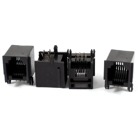 Angle Modular Insert (Unique Bargains 4 Pieces Right Angle PCB 6P6C RJ11 Socket Modular Jack Telephone)