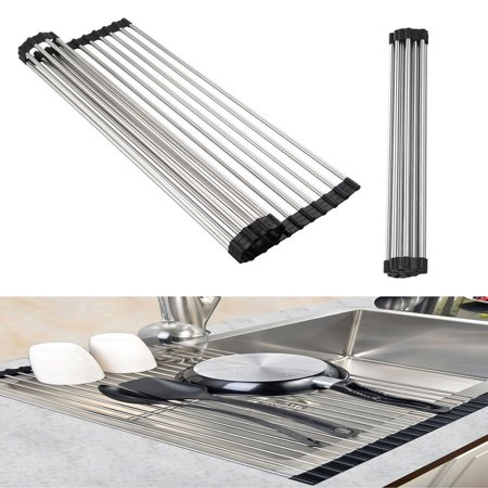 Dish Drainer Rack Eeekit Stainless Steel Over The Sink Dish Rack Drainer Foldable Roll Up Dish Drying Rack Mat For Home Kitchen