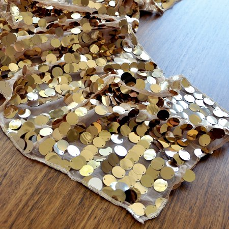New Years Eve Decorations. Large Payette Champagne Gold Sequin Table Runner. New Years Eve Party Ideas.