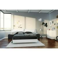 Nexera Melrose 5 Piece Bedroom Kit with 4-Drawer Dresser, White & Black