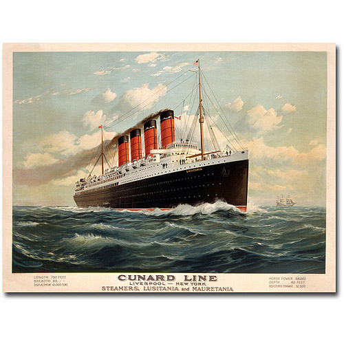 "Trademark Art ""Cunard Line, 1908"" Canvas Wall Art by Fred Pansing"