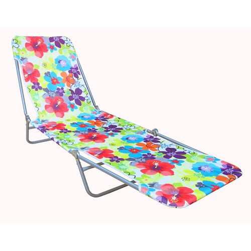 Mainstays Steel Folding Lounge, Pink Floral