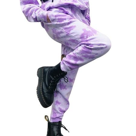 Listenwind Women's Casual Drawstring Loose Cotton Long Pants Elastic Waist Tie Dye Harem Sweatpants with Pocket S-3XL