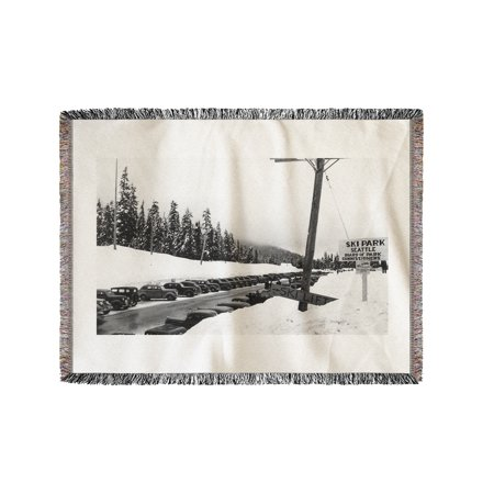 Snoqualmie Pass Ski Park During Winter Photograph  60X80 Woven Chenille Yarn Blanket