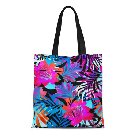 Double Sided Satchel (ASHLEIGH Canvas Tote Bag Tropical Flower Double Exposure Exotic Peeking in Floral Cut Reusable Shoulder Grocery Shopping Bags Handbag)