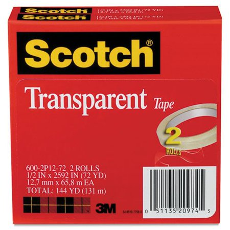 SCOTCH 6002P1272 Transparent Tape 600 2P12 72, 1/2 x 2592, 3 Core, Transparent, 2/Pack