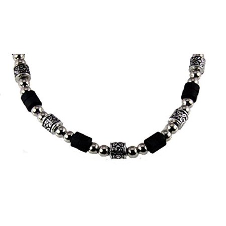 (Silver Tone and Wood Bead Necklace Choker Puka Beads)