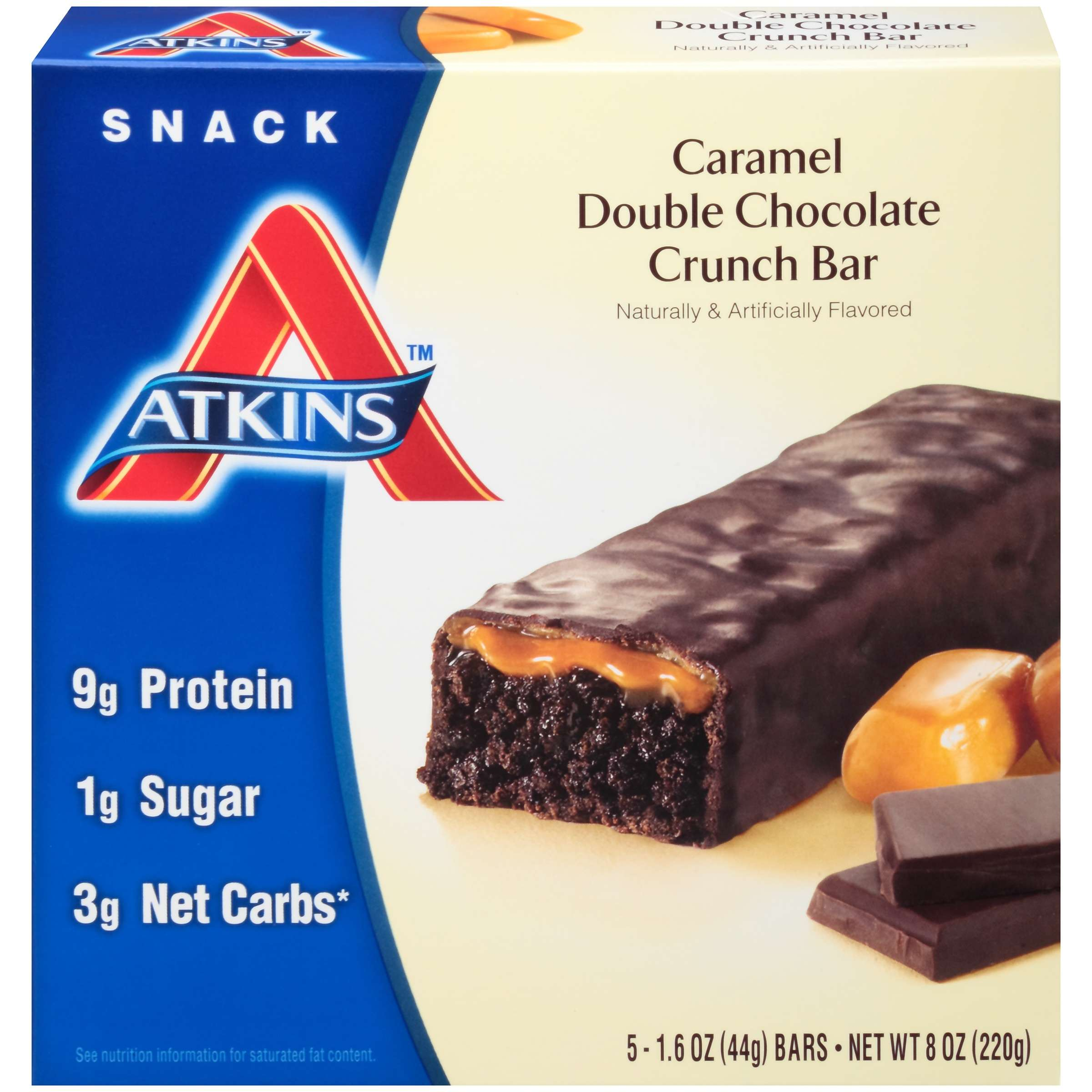 Atkins Caramel Double Chocolate Crunch Bar,1.6oz, 5-pack (Snack)