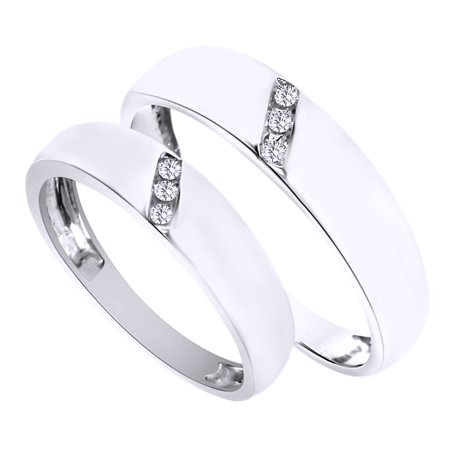 White Natural Diamond His And Hers Wedding Band Ring Set in 14K White Gold (0.1 Cttw) By Jewel Zone US