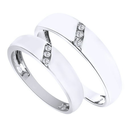- White Natural Diamond His And Hers Wedding Band Ring Set in 14K White Gold (0.1 Cttw)