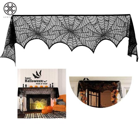 Creepy Games To Play On Halloween (Luxtrada Halloween Decorations Black Lace Spiderweb Fireplace Mantle Scarf Cover Creepy Tablecloth)