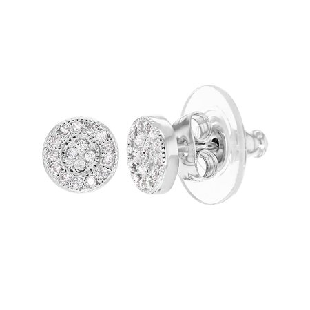Rhodium Plated Clear Crystal Small Round Stud Earrings