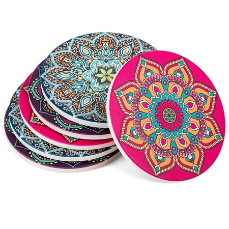 Absorbent Ceramic Stone Coasters for Drinks: Mandala Drink Coaster Set with Cork Back - Round Coasters and Holder Box for Home, Office, Bar - Coffee Table Beverage Cup Mat Sets - 4 Inch, S