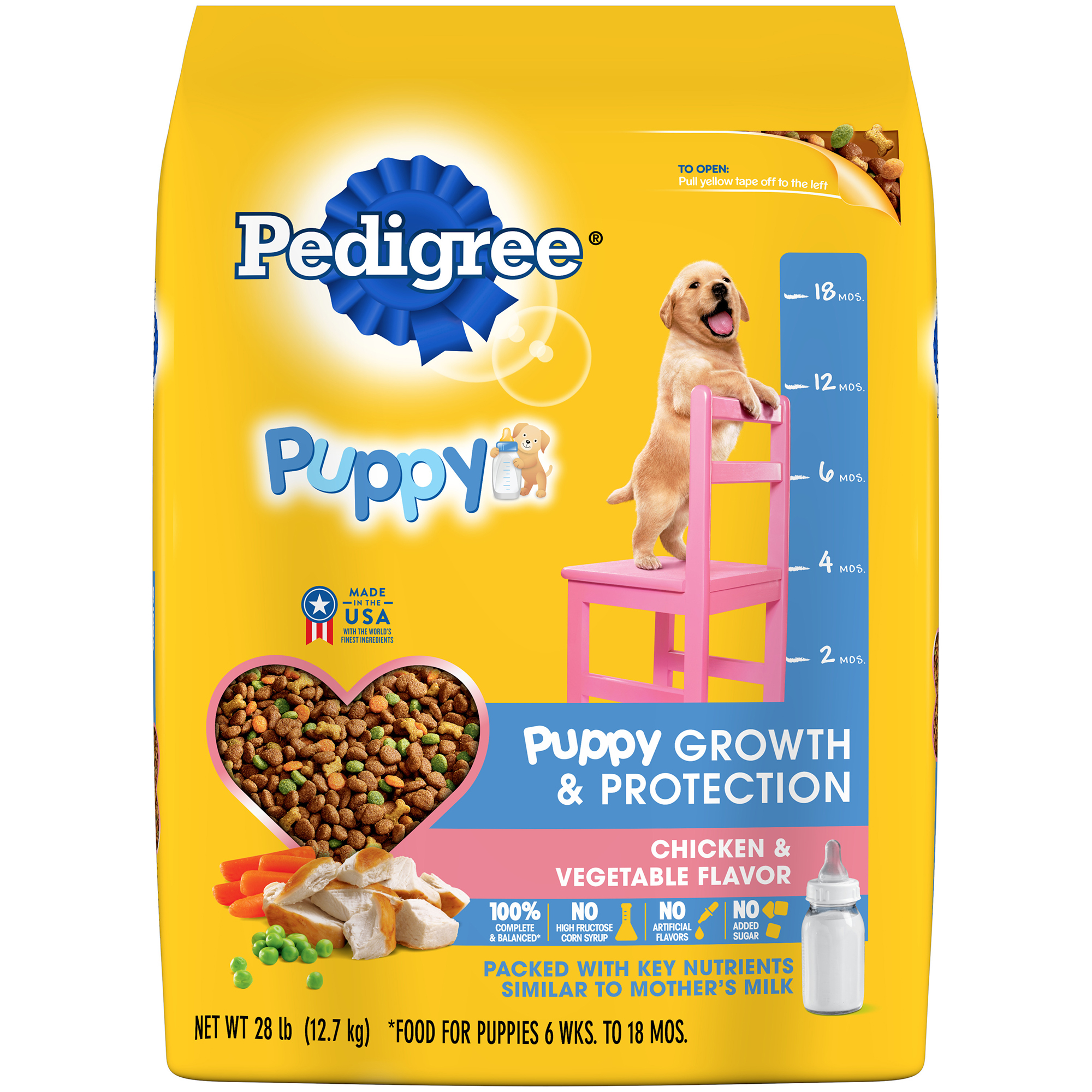 PEDIGREE Puppy Growth & Protection Chicken & Vegetable Flavor Dry Dog Food 28 Pounds