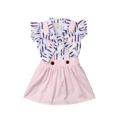 2Pcs New Toddler Kids Baby Girls Feather Ruffled Bowknot Blouse Shirt Top + Suspender Overall Skirts Outfit Set
