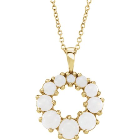 Bella Grace Jewelry Collection 14K Yellow Opal Halo-Style Necklace