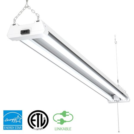 Sunco Lighting 1 PACK - ENERGY STAR, ETL - 4ft 40W LED Utility Shop Light, 4000lm 120W Equivalent, Double Integrated LED Fixture, Ceiling Light, Garage, Frosted (5000K - Daylight)