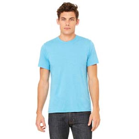 Bella-Canvas C3413 Unisex Short Sleeve T-Shirt - Aqua Triblend, Small Aqua Burnout T-shirt