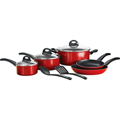 Mainstays 10-Piece Non-Stick Aluminum Cookware Set, Red