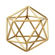 "Better Homes & Gardens 5""W x 6""H Icosahedron Iron Geometric Tabletop Sculpture, Medium, Gold, 1 Piece"