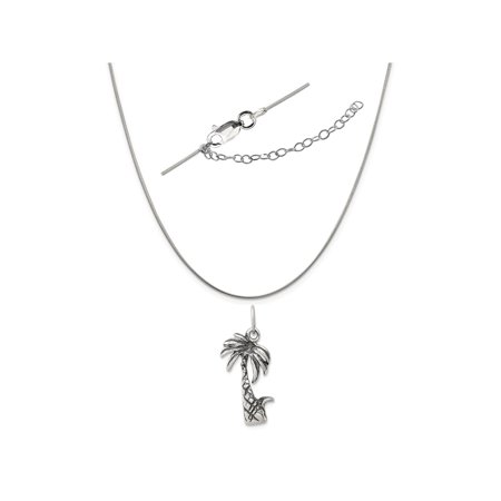 - Sterling Silver Antiqued Palm Tree Charm on a 0.80mm Snake Chain Necklace, 18