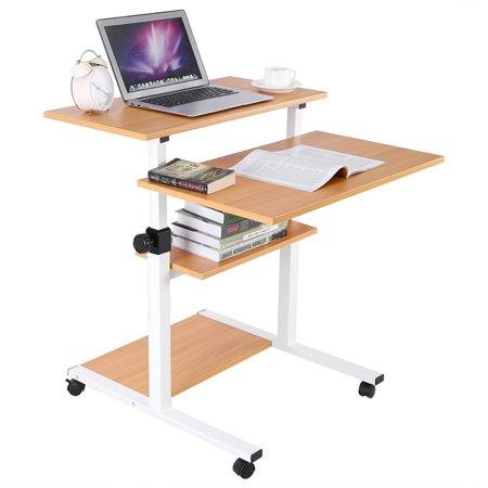 Computer Work Station Desk Wooden Mobile Standing,Adjustable Height Rolling Presentation Cart Office Home Use