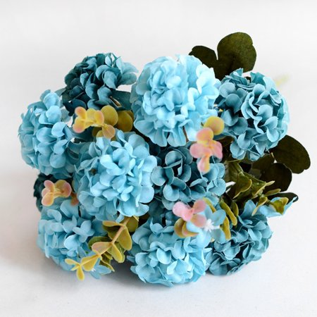 home decoration fake flower pot planting 10 ball chrysanthemum European simulation bouquet wholesale wedding flower blue ()