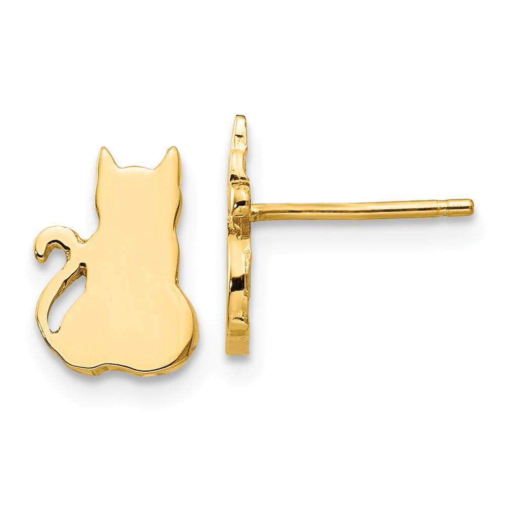14k Yellow Gold Cat Stud Earrings Walmart Com