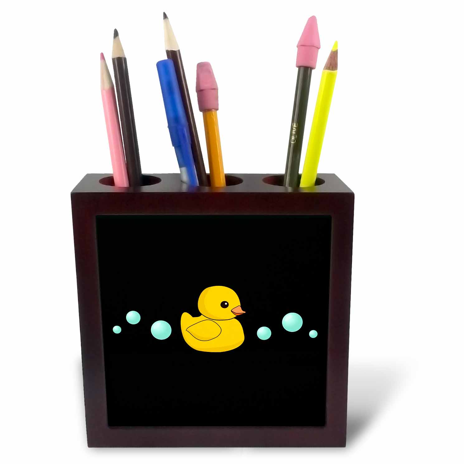 3dRose Cute Yellow Rubber Duckie cartoon with soap bubbles - kawaii ducky on black - adorable sweet duck, Tile Pen Holder, 5-inch