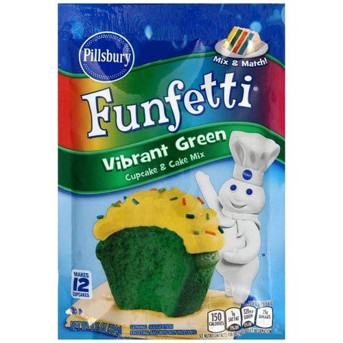 Pillsbury Funfetti Cupcake Mix, Vibrant Green, 8.25 Oz