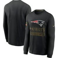 New England Patriots Nike 2020 Salute to Service Sideline Performance Long Sleeve T-Shirt - Black