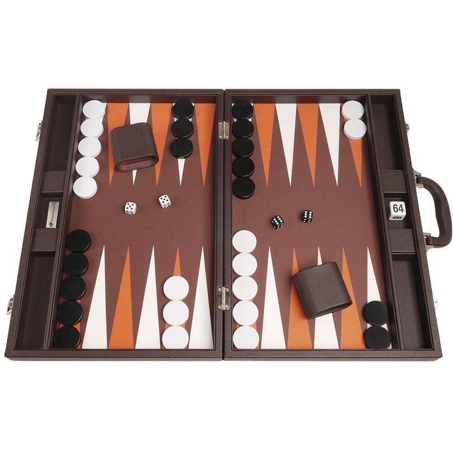 "19"" Premium Backgammon Set, Dark Brown by Silverman & Co"