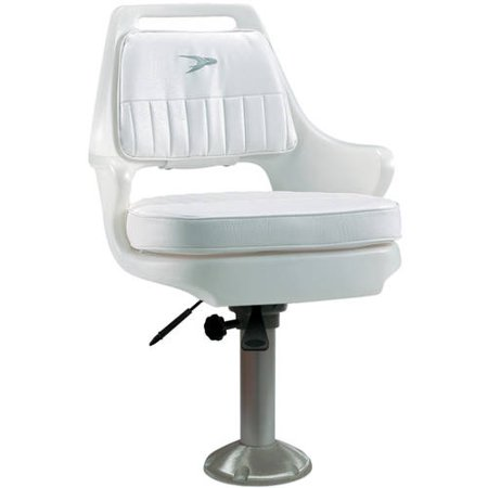 Wise Deluxe Helm Chair With 15  Locking Pedestal And Seat Slide Bracket  White