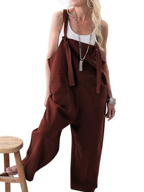 Ladies Casual Straps Overalls Trousers Ladies Sleeveless Baggy Pockets Long Pants Loose Cotton Linen Jumpsuit Dungarees Playsuit