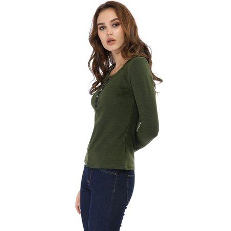 Allegra K Femmes Tricoté Top Henley Cou Bouton Manche Longue Chemise Vert XS (EU 32) - image 5 de 6